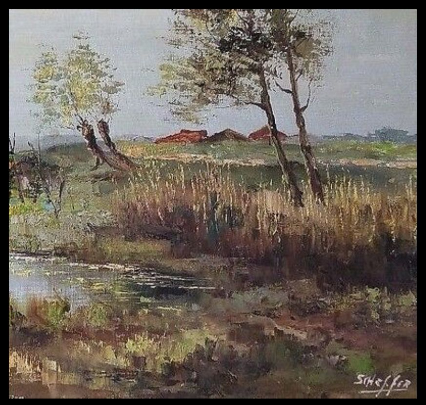 "48"" Vtg Mid Century European Oil Painting on Canvas Signed Scheffer Landscape"