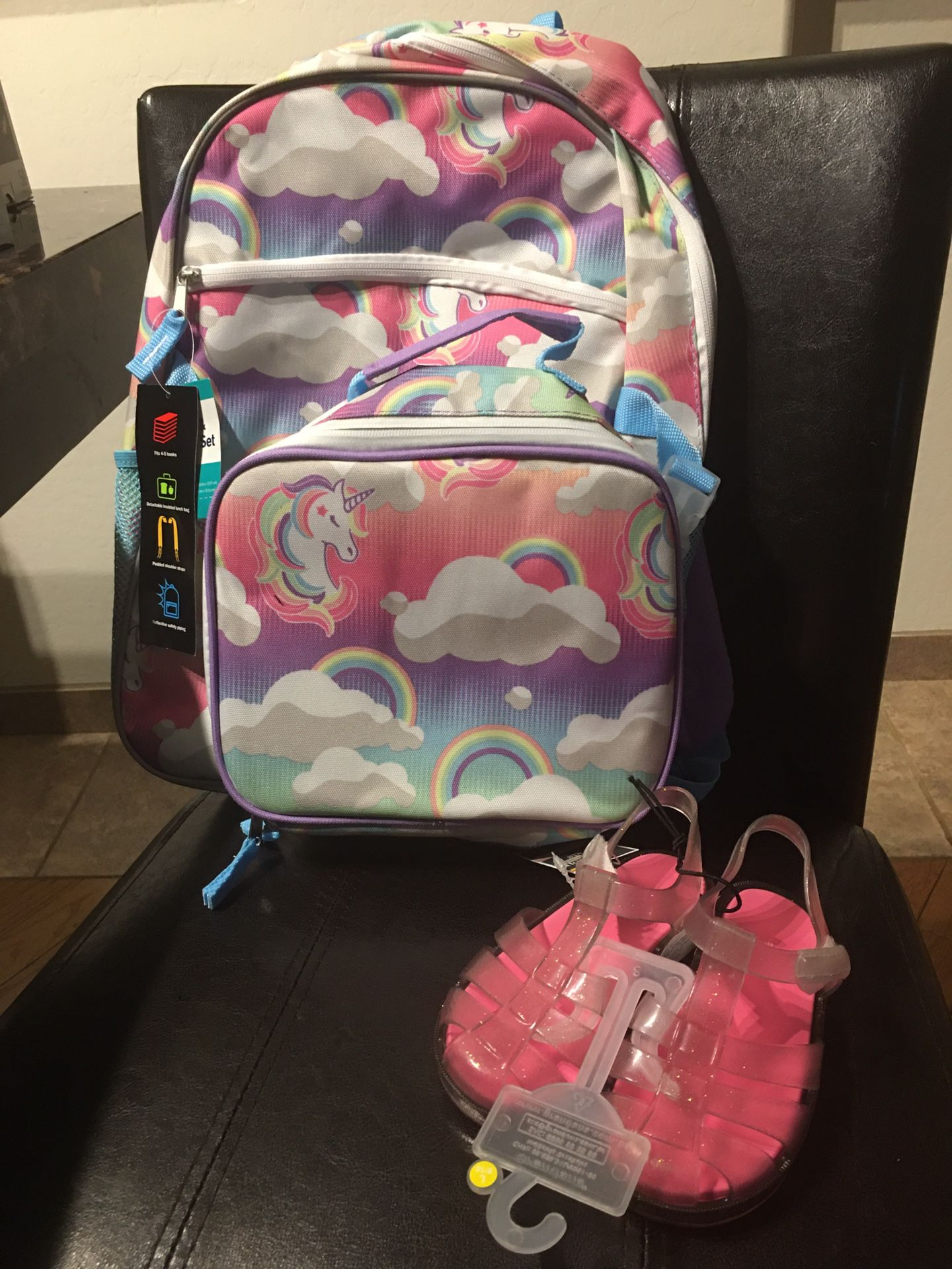 Little girls backpack and sandals new