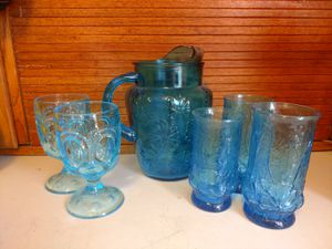Blue Glass pitcher with three water glasses and two stemware from 50-60's for Sale in Castle Dale, UT
