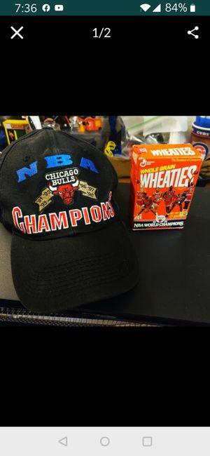Photo Chicago Bulls 6x World Champion Cap & 1991, Mini Wheaties Box w/cereal.