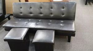 Brand New Espresso Faux Leather Futon Sofa Bed + 2 Storage Ottomans for Sale in Silver Spring, MD
