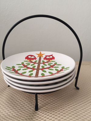 """Set of 4 room creative red owls dinner plate 7"""" X 7"""" for Sale in Falls Church, VA"""