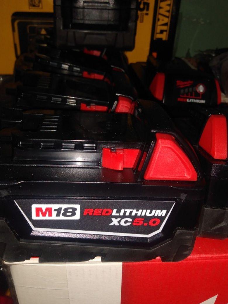 New M18 5.0 Batteries 65 Each