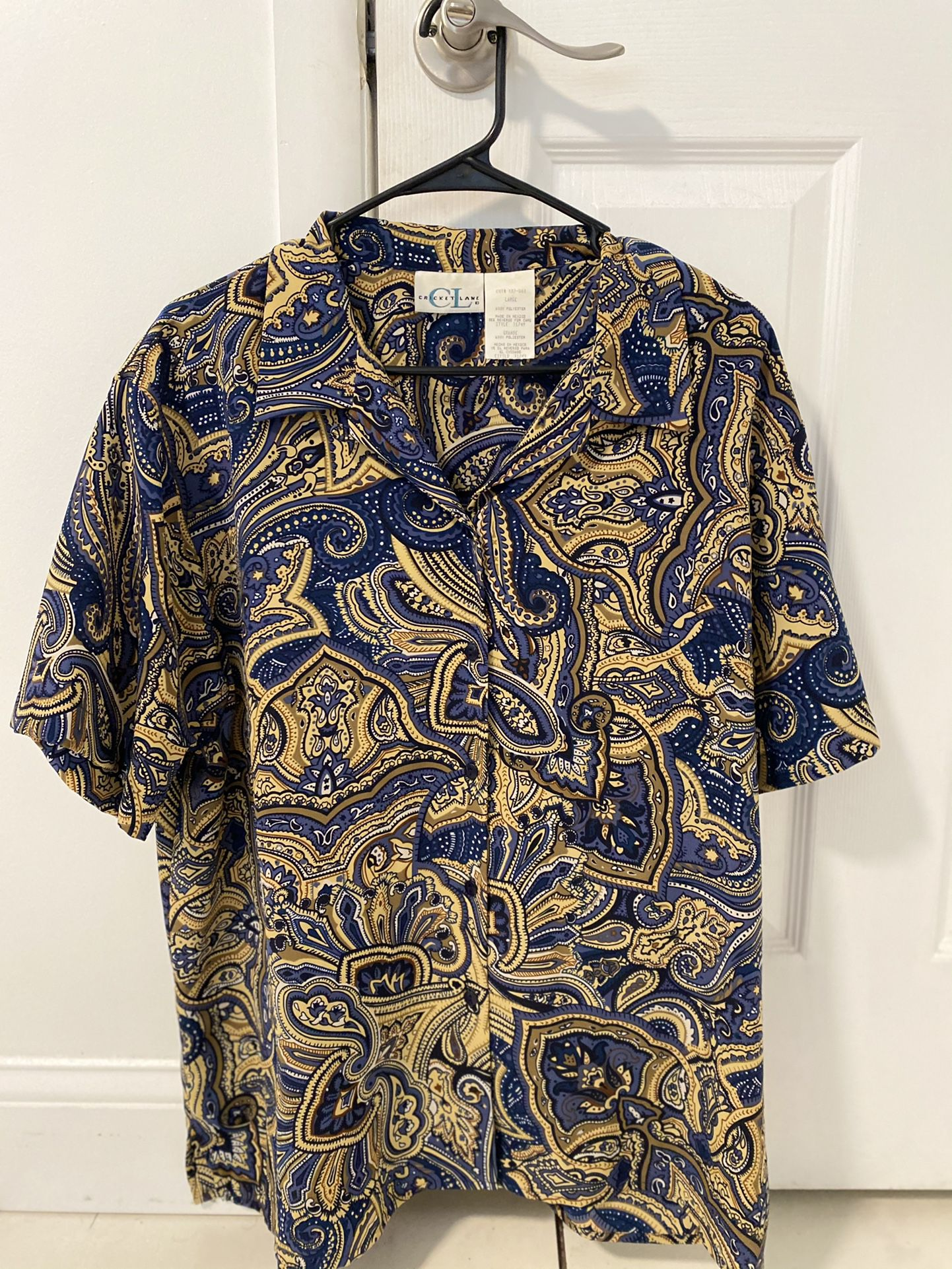 Vintage Paisley Button Up (Cricket Lame) 100% Polyester