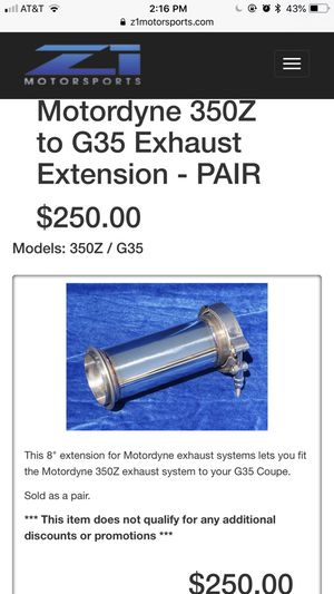 Motordyne 350Z to G35 Exhaust Extension for Sale in Huntington Beach, CA -  OfferUp