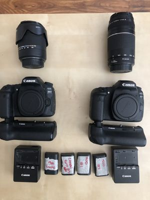 Canon EOS 80D w/battery grips and lenses for Sale in Salt Lake City, UT