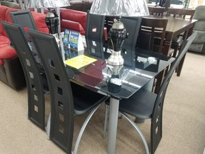 Brand new black glass dining table set with 6 chairs for Sale in Washington, DC