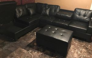 Brand New Black Faux Leather Sectional Sofa Couch + Storage Ottoman for Sale in Silver Spring, MD
