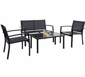 Photo 4 Pieces Patio Furniture Outdoor furniture Outdoor Patio Furniture Set Textilene Bistro Set Modern Conversation Set Black Bistro Set with Loveseat T