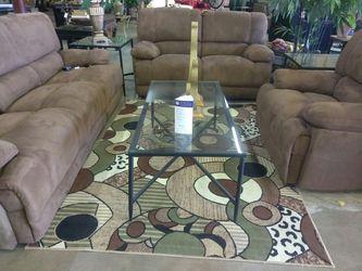 Pakage deal 3 pcs clot brown electric living room set Thumbnail