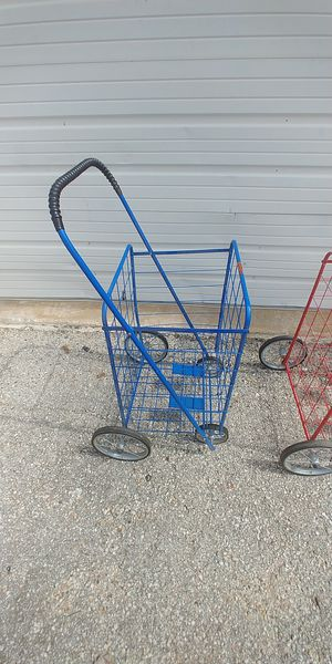 Photo Blue, Folding 4 Wheel Shopping Cart