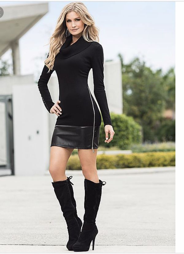 9f9e9d6abd9 Venus Black Sweater Dress with Faux Leather Skirt- Sz Medium for ...