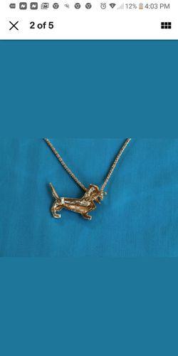 Betsey Johnson Rhinestone Dachshund Necklace Thumbnail