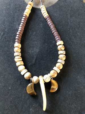 Photo Authentic Badger Claw Necklace with Crescent Moon Tiger Eyes