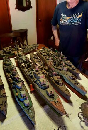 Vintage hand built scale model British World War II Naval vessels for Sale in Santa Monica, CA