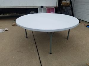 "Photo NEW 71"" Round Bi-Fold Granite white plastic Folding Table"