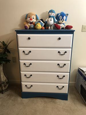 Teal blue/white 5-drawers dresser for Sale in Purcellville, VA