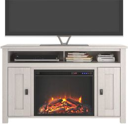 Ivory Pine Electric Fireplace TV Console up to 50 inches TV Thumbnail