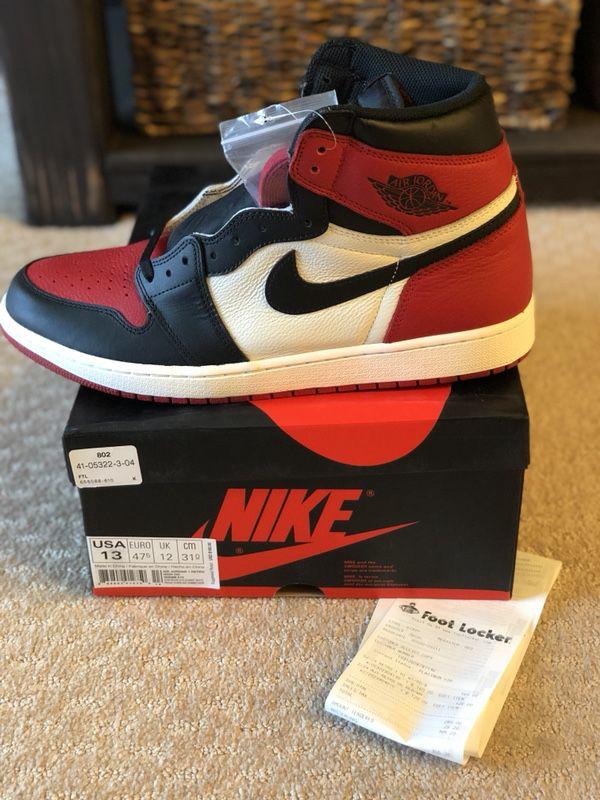 size 40 506b8 e55e3 Jordan 1 Retro Bred Toe Size 13 from Foot Locker for Sale in Belmont, CA -  OfferUp