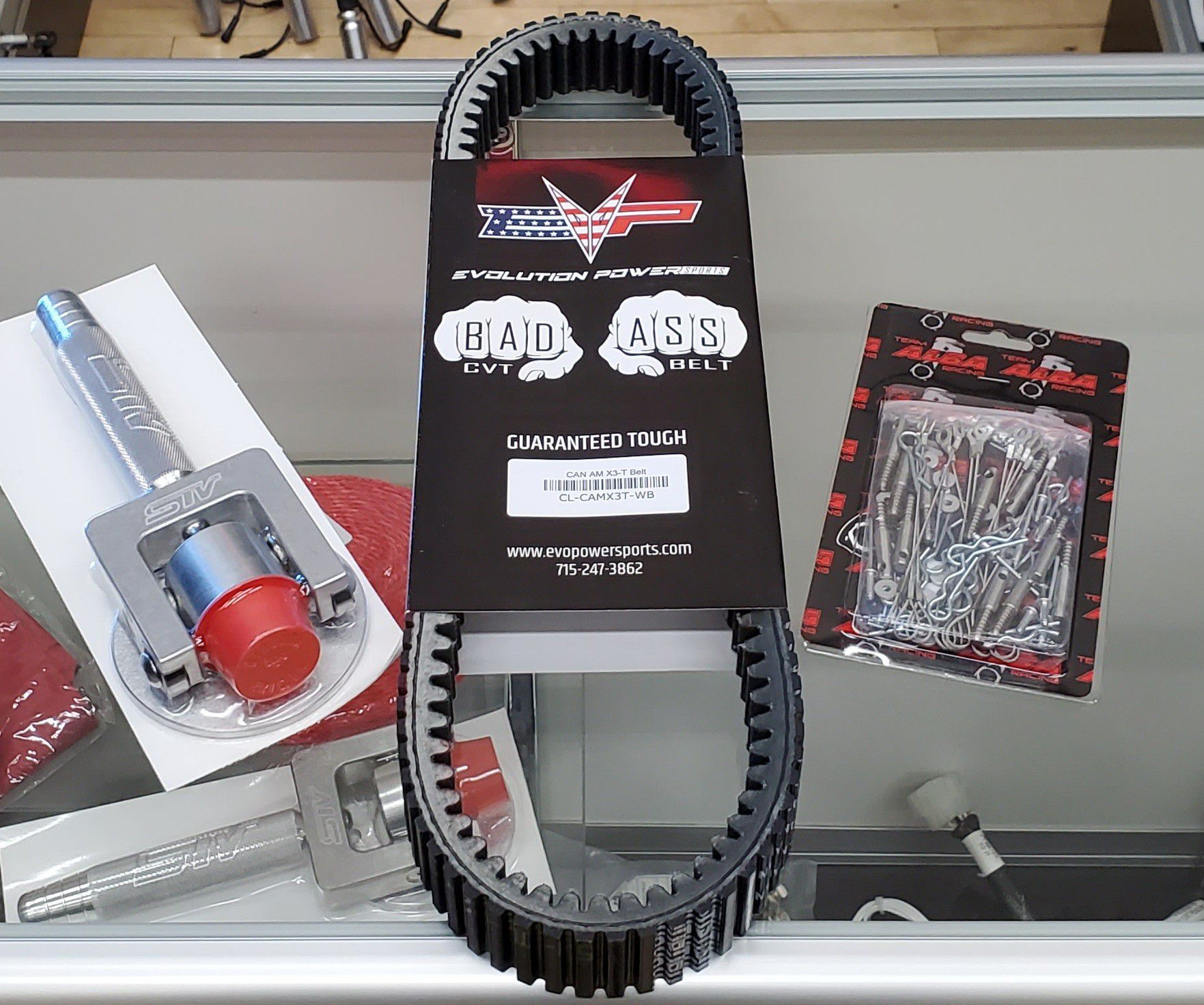 EVO Powersports belt, STV belt removal tool and alba clutch pin kit