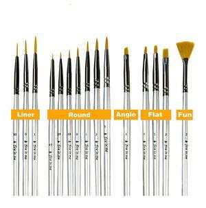 Photo Premium Fine Detail Paint Brush Set of 15 pcs, Miniature Paint Brushes kit, Tiny Small Model Brushes for Acrylic Painting, Watercolor Oil