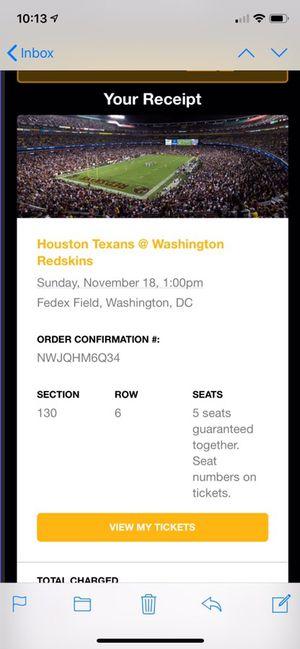 Houston Texans at Washington Redskins Ticket for Sale in Fairfax, VA