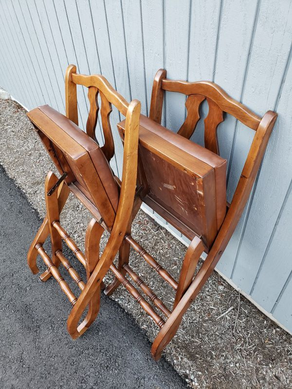 Vintage Wood Folding Chairs with Comfy Leather Cushion for Sale in Renton,  WA - OfferUp - Vintage Wood Folding Chairs With Comfy Leather Cushion For Sale In