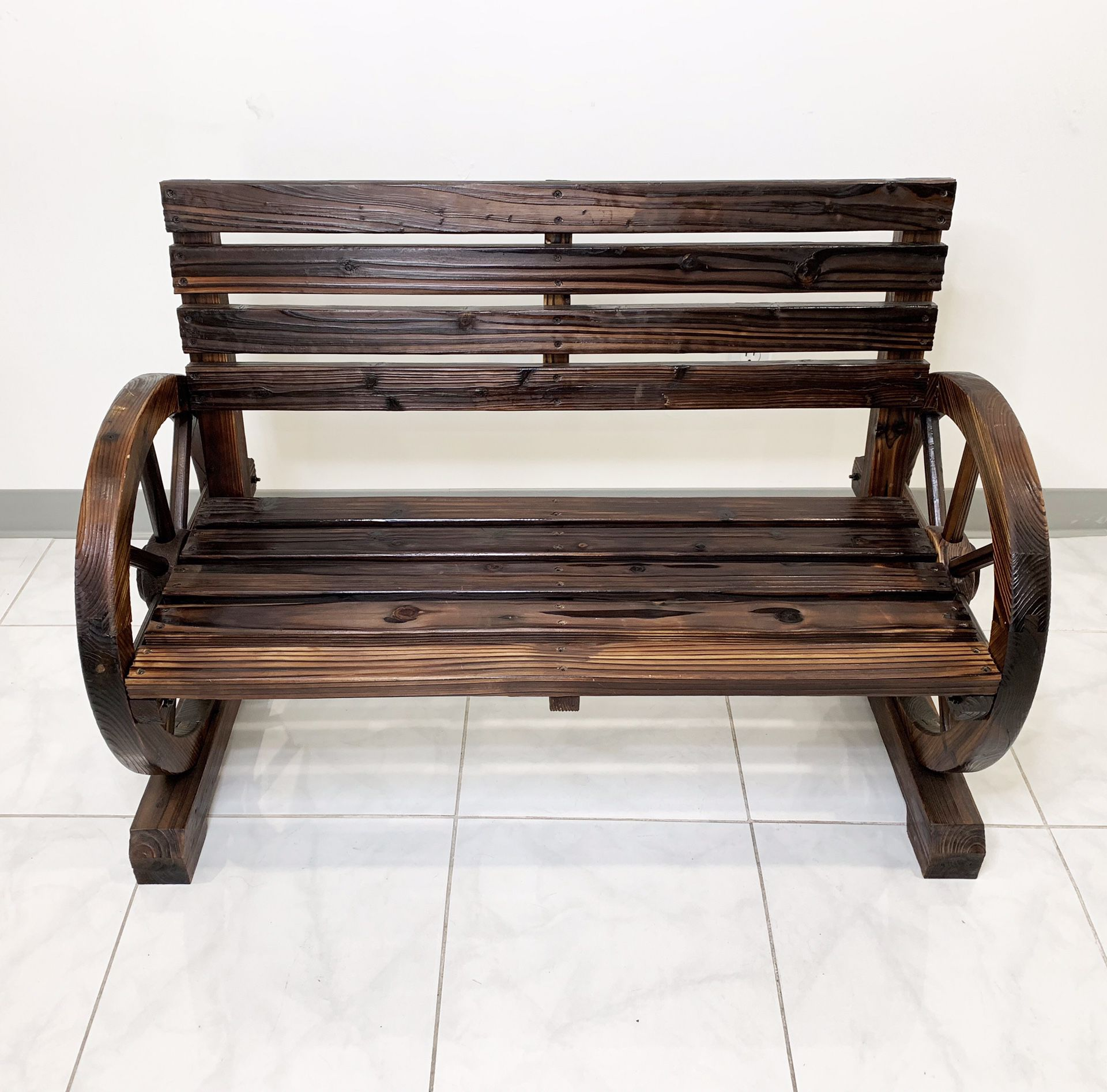 """$100 New In Box Solid Wood 41"""" Wide Patio Wooden Bench Rustic Wagon Wheels Outdoor Garden 41x20x30 Inches"""