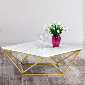 Beautiful (Real) White Marble/Gold Geometric Coffee Table for Sale in Washington, DC