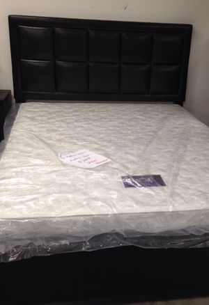 Brand New Queen Size Leather Platform Bed + Mattress for Sale in Silver Spring, MD