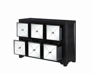 New Wooden Accent Cabinet with Mirrored Drawers Thumbnail