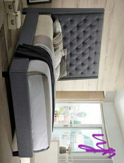 Chantilly Gray Upholstered Queen Bed (King Size available) Thumbnail