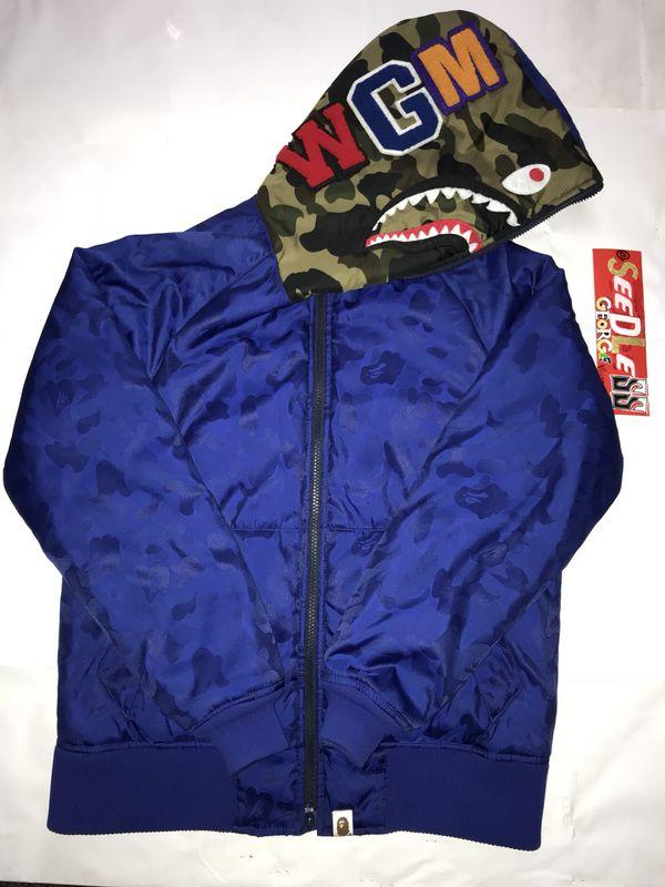 5b40e15fd072 Bape blue jacquard hidden camo down shark jacket for Sale in Simi ...
