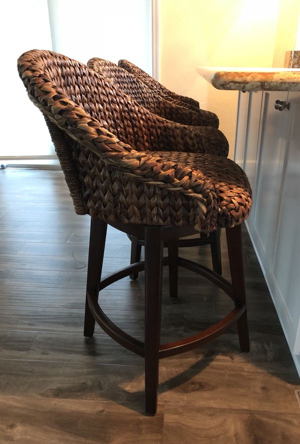 Bar Stools And High Table, Pottery Barn Seagrass Bucket Swivel Barstools 3 For Sale In Fort Lauderdale Fl Offerup