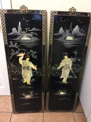 Two-Panel Set - Samurai figures in mother of pearl for Sale in Denver, CO