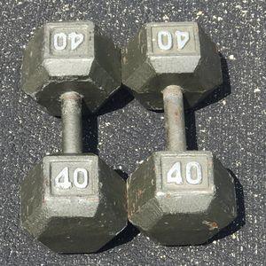 Photo 2 Cast Iron Hex 40 lb Dumbbells 80 lbs Total