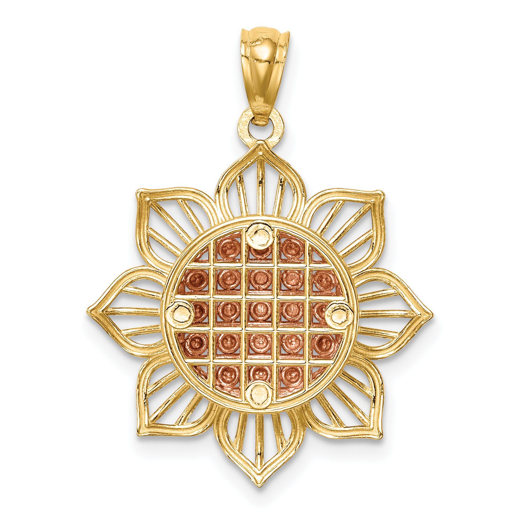 14K Gold & Two Tone Rose Plated Diamond Cut Sunflower Pendant