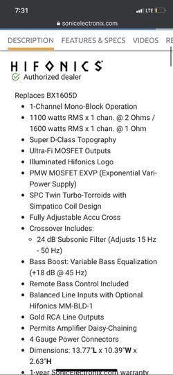 Hifonics 1600 Watt Amp  Thumbnail