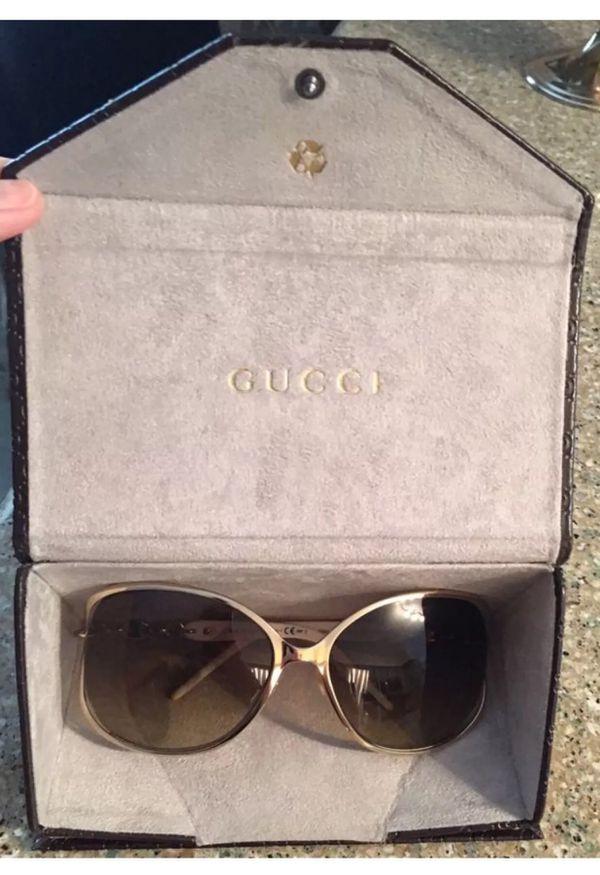 36fa6bec31e70 Brand New! Authentic Gucci Gold   White Rhinestone Sunglasses-have receipt!