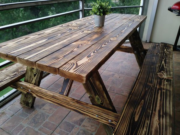 Hand Made Rustic Picnic Table