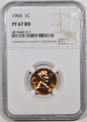 Photo 1963 Lincoln Cent Proof NGC PF-67 RED