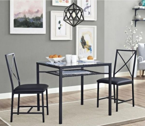 Mainstays 3-Piece Metal & Glass Dinette, Dining Room ...