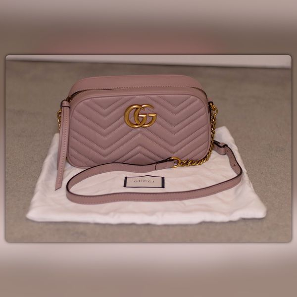 b5dfe90a261 Authentic Gucci GG Marmont small matelassé shoulder bag Dusty Pink Nude