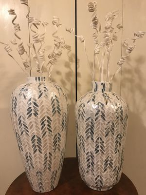 """Set of 2 mosaic teal beige capiz vases 25"""" each check out my other items on this page message me if you interested gaithersburg md 20877 for Sale in Gaithersburg, MD"""