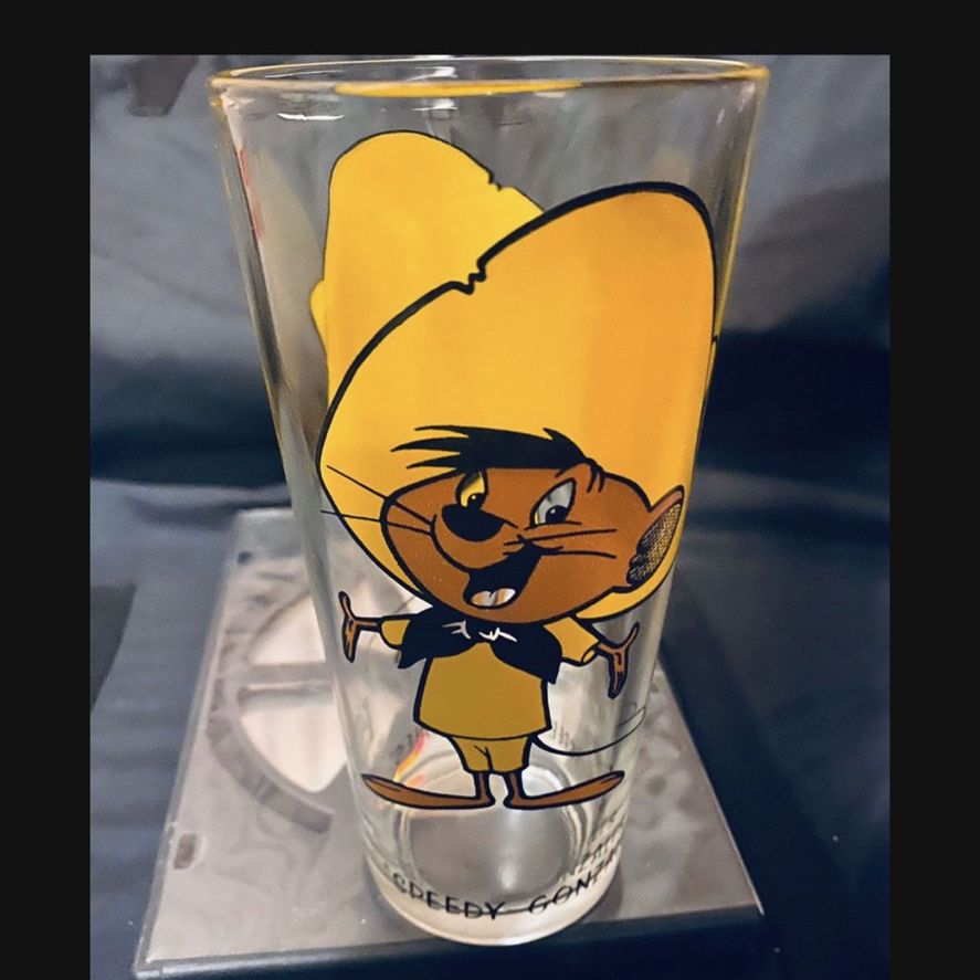 Vintage RARE 1973 16oz Brockway Pepsi Looney Tunes Speedy Gonzalez Glass With Black Writing