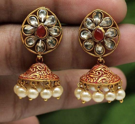 Cute Meenakari Jhumki Earrings With Glass Stones And Faux Pearl Beads