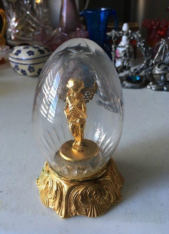 Lennox Treasured Crystal Angel Egg Christmas Gold Tone