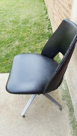 MCM black studded vinyl swivel chair Thumbnail