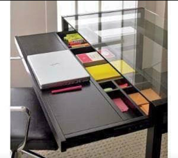 Crate Barrel Drake Desk With Keyboard Panel And Underneath Organizing Draw Tempered Gl For In Miami Fl Offerup