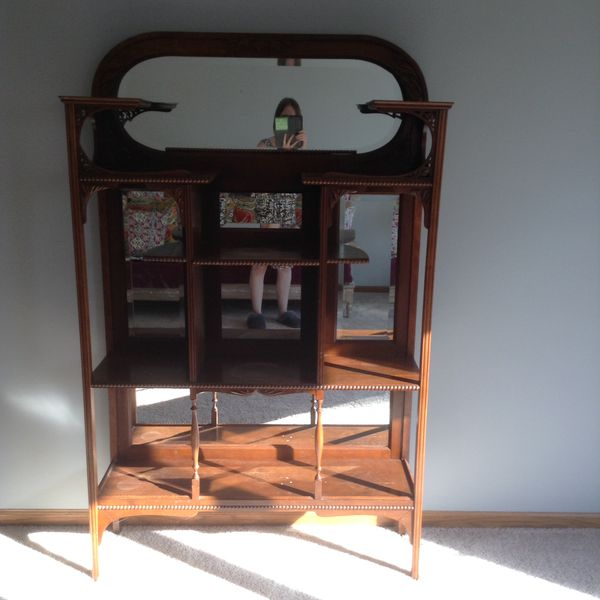 Antique Victorian Wood Shelf With Mirrors Ball And Stick Design Curio Cabinet